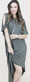 Fashion Apparel FT80032-Olive - Ladies Cold Shoulder Jersey Knit High-Low Dress