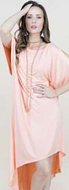 Fashion Apparel FT80032-Peach - Ladies Cold Shoulder Jersey Knit High-Low Dress