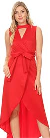 KarenT-2048-Red - Wrap Look Hi-Lo Dress With Keyhole Neckline And Sash