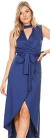 KarenT-2048-Royal - Wrap Look Hi-Lo Dress With Keyhole Neckline And Sash