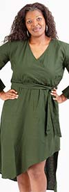 KaraChic 454S-DenimGreen - Womens Mock Style Dress With Flounce Cuff Sleeves