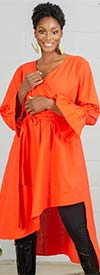 KaraChic 454S-Orange - Womens Mock Style Dress With Flounce Cuff Sleeves