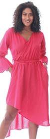 KaraChic 454S-Pink - Womens Mock Style Dress With Flounce Cuff Sleeves