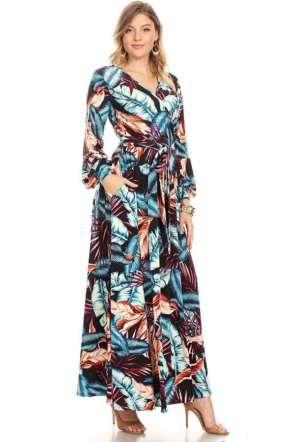 KarenT-5056P - Navy Multi Print Long Sleeve Maxi Dress With Sash