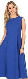 KarenT-6026-Royal - Womens Sleeveless A-Line Dress