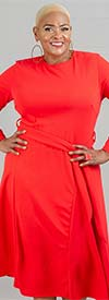 KarenT-7021KT-Red - Womens Long-Sleeve A-Line Dress With Sash