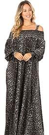 KarenT-9046-BlackGray - Bishop-Sleeve Off-Shoulder Animal Print Maxi Dress