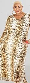 KarenT-9047 - Vee-Neckline Maxi Dress In Animal Print Design