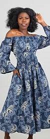 KaraChic - 304 Navy/White - Smocked Waist Bell Sleeve African Print Dress