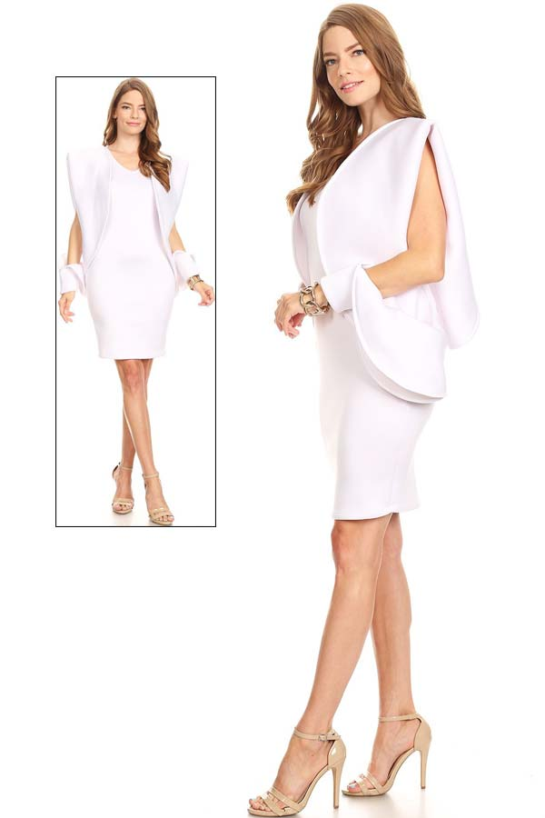 KarenT-2047  - Scuba Dress Featuring Split Sleeve Style Design