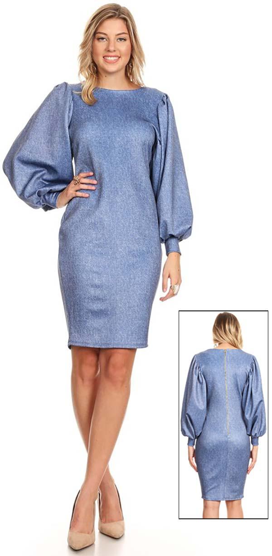 KarenT-5014 - Ladies Puff Sleeve Pencil Dress