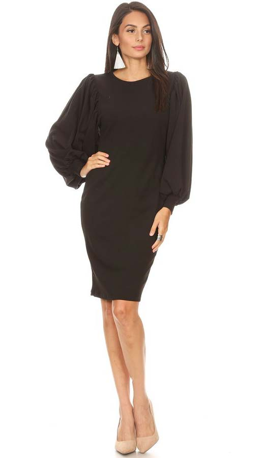 KarenT-5014X-Black- Bishop Sleeve Pencil Dress With Round Neckline