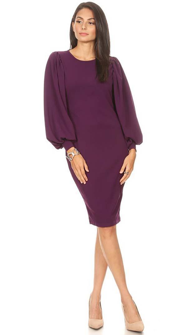 KarenT-5014X-Plum- Bishop Sleeve Pencil Dress With Round Neckline