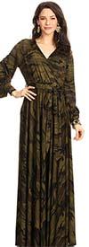 KarenT-5056C - Camoflauge Print Bishop Sleeve Maxi Dress With Sash