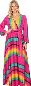 KarenT-5056M-Rainbow - Bishop Sleeve Maxi Dress With Sash