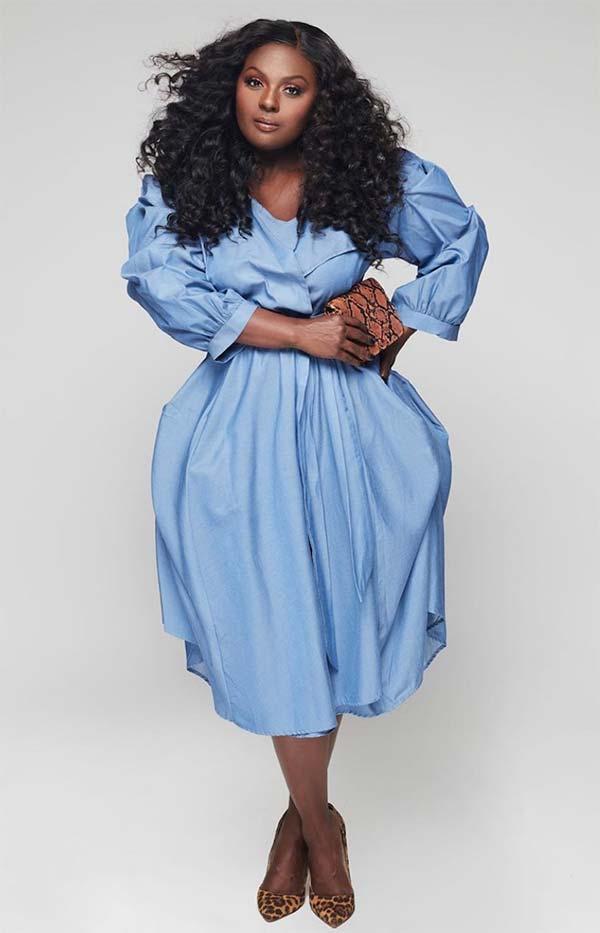 KarenT-5085DEN - Three Quarter Sleeve Wrap Dress With Sash