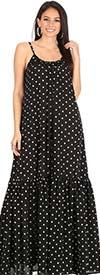 KarenT-8028-Black - Long Maxi Dress In Peasant Style With Polka-Dot Print