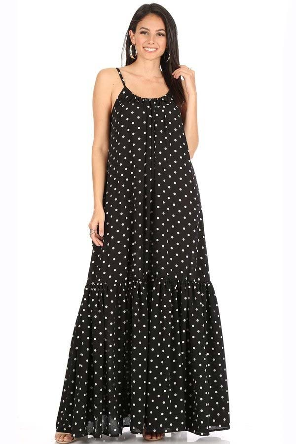 KarenT-8028-Black - Long Maxi Dress In Peasant Style With Polka-Dot Print