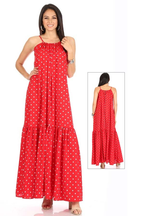 KarenT-8028-Red - Long Maxi Dress In Peasant Style With Polka-Dot Print