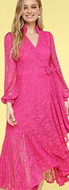 KarenT-9008S-Fuchsia - Ruffled Lace High-Low Wrap Dress With Bishop Sleeves And Stand-Up Collar