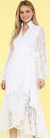 KarenT-9008S-White - Ruffled Lace High-Low Wrap Dress With Bishop Sleeves And Stand-Up Collar