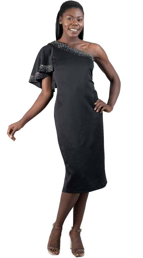 Lily and Taylor 4160-Black - One Shoulder Ruffle Sleeve Dress With Embellished Detail
