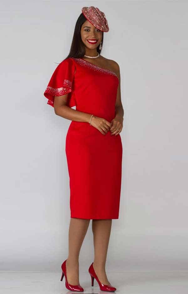 Lily and Taylor 4160-Red - One Shoulder Ruffle Sleeve Dress With Embellished Detail