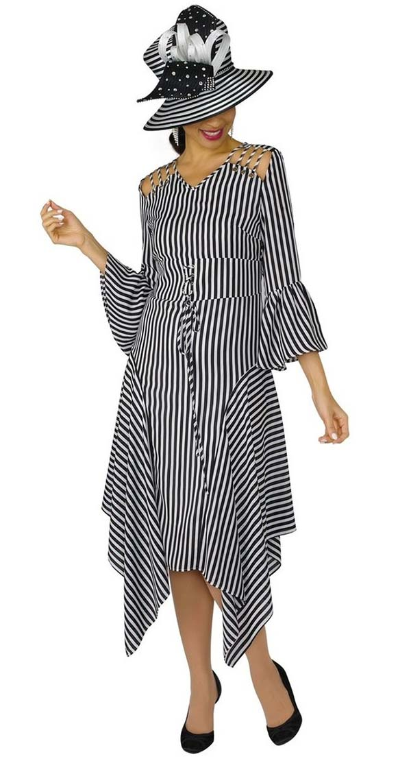 Lily and Taylor 4311 - Striped Design Novelty Fabric Dress With Sharkbite Trim
