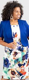 Maya-Brooke-27692 Two Piece Solid Color Bolero Jacket And Flower Print Dress Set
