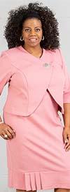 Maya-Brooke-28367-Rose - Two Piece Flounce Hem Dress Set With Wrap Style Jacket