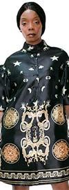 N By Nancy A1827D - Womens Button Front High Band Collar Print Design Jacket Dress