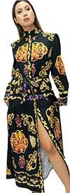 N By Nancy A92003 - Womens High Band Neckline Dress In Print Design