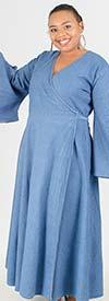 NF 8003 - Womens Bell Sleeve Surplice Neckline Dress