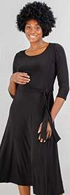 Nina Leonard 7727-Black -  Long Sleeve Belted Dress