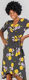 Nina Leonard 9671 - Short Sleeve Mock Wrap Dress In Floral Print Design