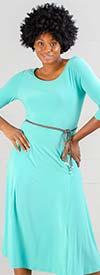 Nina Leonard L6012A - Three-Quarter Sleeve Matte Jersey Dress With Belt