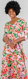 Nina Leonard L7724B - Floral Print Matte Jersey Dress With Sash