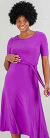 Nina Leonard L7727C - Short Sleeve Belted Matte Jersey Dress