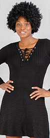 Nina Leonard L8579A - Womens Long Sleeve Lace-Up Sweater Dress