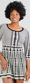 Nina Leonard L8580A - Three Quarter Sleeve Sweater Dress In Two-Tone Geometric Print