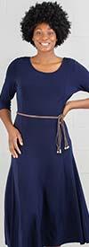 Nina Leonard L8887A  - Three-Quarter Sleeve Matte Jersey Dress With Belt