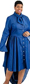 Step In Style AA18183X - Womens High-Low Denim Dress With Bow Neckline And Bell Cuff Sleeves