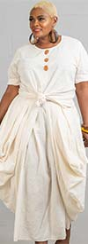 Step in Style AA18401 - Womens Draped Dress With Knotted Style Design