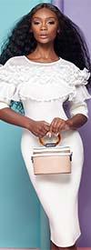 Why Dress WHY-D190302- Womens Scuba Midi Dress With Ruffle Trim Sheer Yoke