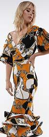 Why Dress-D190602 - Multi Print Tiered Ruffle Hem Dress With V-Neckline