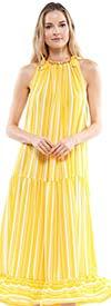 Why Dress-D200032 - Sleeveless Drop-Waist Dress With Ruffle Hem In Striped Design