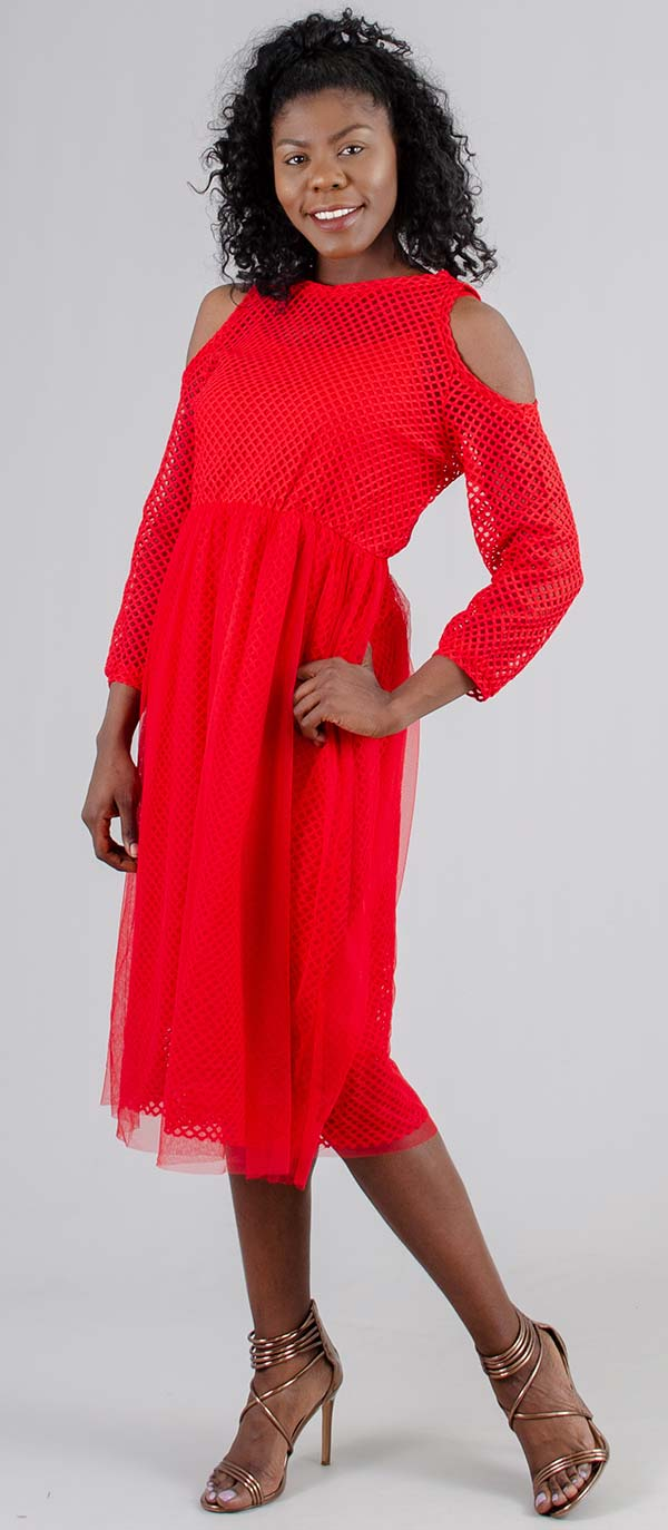 Why Dress-D180180 - Womens Cold Shoulder Style Dress In Mesh And Tulle Design