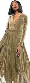 Why Dress-D180606-Gold - Pleated Metallic Fabric Long Sleeve Dress With Surplice Neckline & Sash