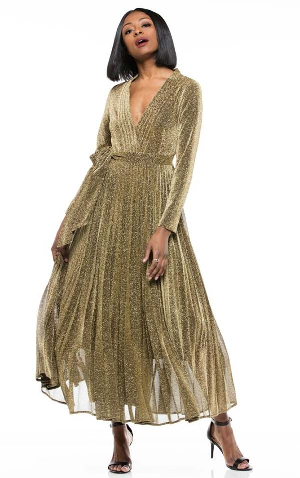 Why Dress-D180606-Gold - Pleated Metallic Fabric Long Sleeve Dress With Surplice Neckline & Sash
