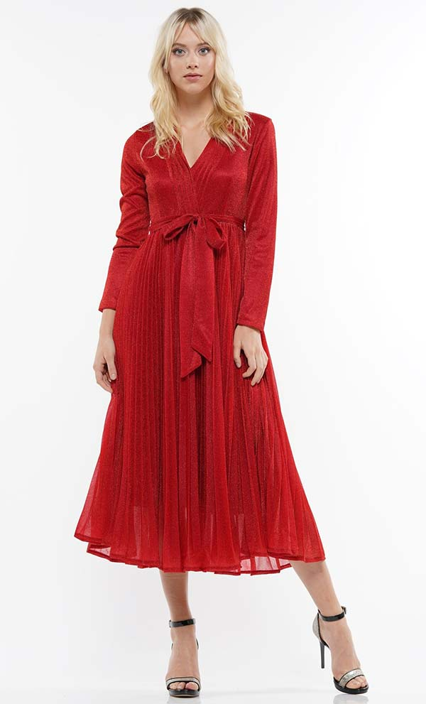 Why Dress-D180606-Red - Pleated Metallic Fabric Long Sleeve Dress With Surplice Neckline & Sash